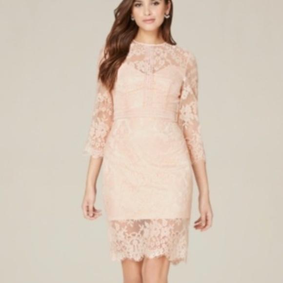 Bebe Liv Slit Lace Midi Dress In Light Pink Nwt